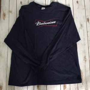 Budweiser 2XL long sleeve navy blue shirt